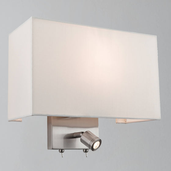 Mai Flush Shaded Wall Light with Reading Light