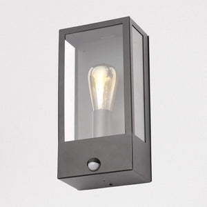 Nomad Black Glass Box Sensor Wall Lantern