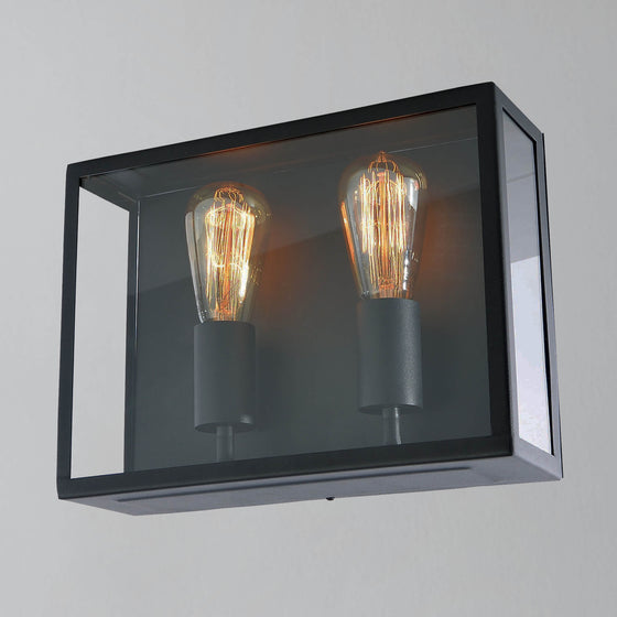 Nomad Twin Glass Box Wall Light - Black
