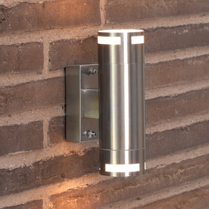 Nordlux Can Outdoor Up & Down Wall Light - Stainless Steel - -Lampsy