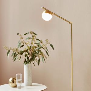 Nordlux Contina Swing Arm Floor Lamp - Brass-Lampsy