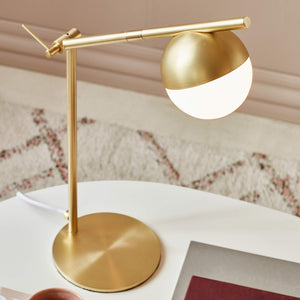 Nordlux Contina Swing Arm Table Lamp - Brass-Lampsy