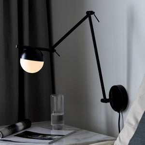Nordlux Contina Swing Arm Wall Light - Black-Lampsy