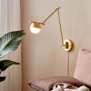 Nordlux Contina Swing Arm Wall Light - Brass-Lampsy