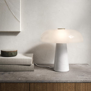 Nordlux Glossy White Marble Table Lamp - -Lampsy