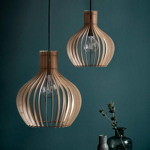 Nordlux Groa Wooden Cage Pendant - -Lampsy