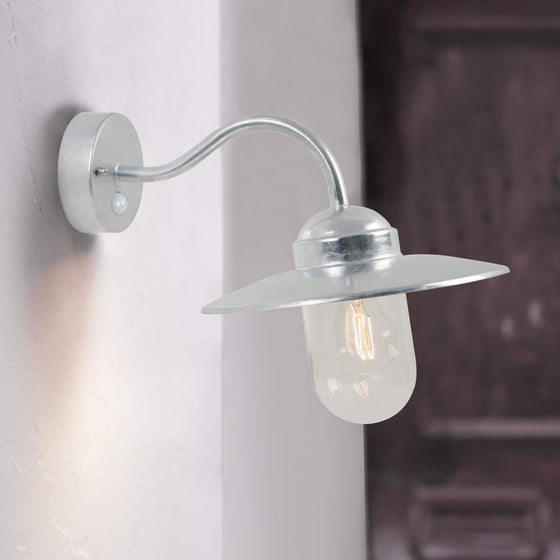Luxembourg Swan Neck Wall Sensor Light - Galvanised