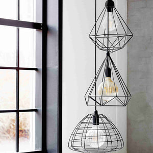 Tees Geometric Cage Wire Pendant Light - Black