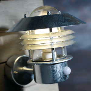 Nordlux Vejers Outdoor Sensor Wall Light - Galvanised Steel - Outdoor Lighting - Lampsy