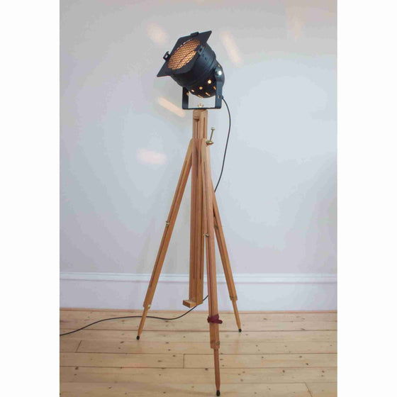 Vintage Retro Theatre Spot Light Tripod Floor Lamp - Chrome