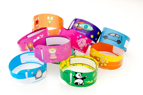 Convenient packs of child Fun-ID wristbands