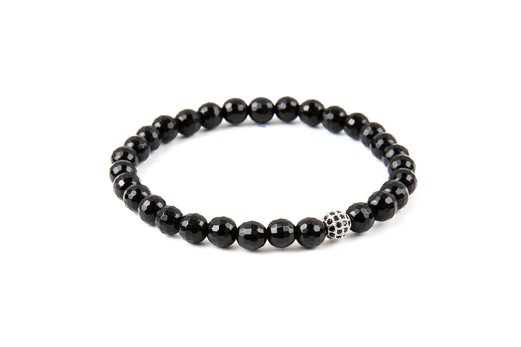 Black Onyx Beaded Silver CZ Diamond