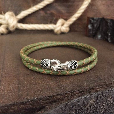 Sterling Silver Locks and Genuine Soldier Green Leather - BRACELETSCLUB