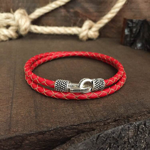 Sterling Silver Locks and Genuine Red Leather - BRACELETSCLUB