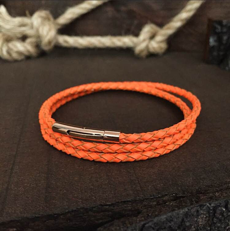 Sterling Silver Summer Orange Genuine Leather Bracelet - BRACELETSCLUB