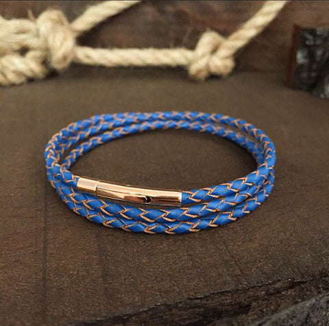 Sterling Silver Summer Blue Genuine Leather Bracelet - BRACELETSCLUB