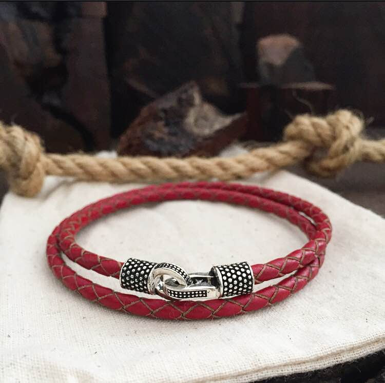 STERLING SILVER PALE RED - BRACELETSCLUB