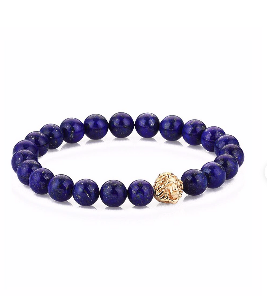 LAPIS BEADED WITH GOLD LEO