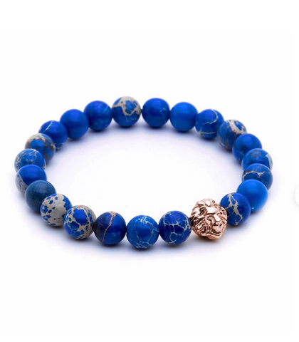 BLUE BEADED LEO WITH ROSE LEO