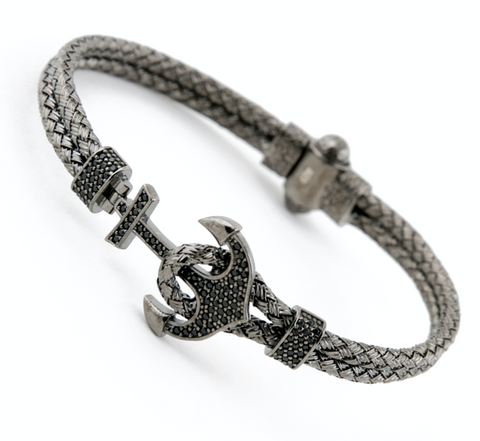 Black Anchor Bangle