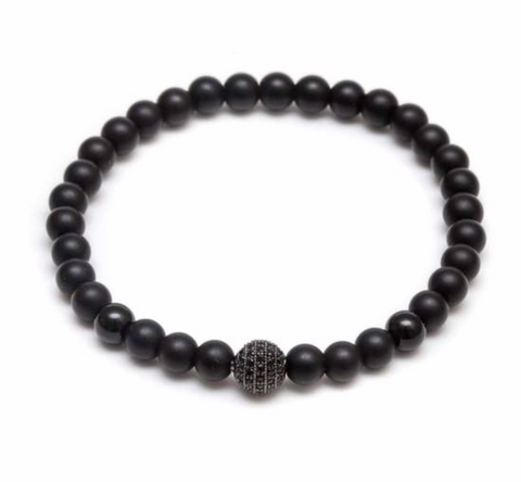 CZ Diamond Black Beaded