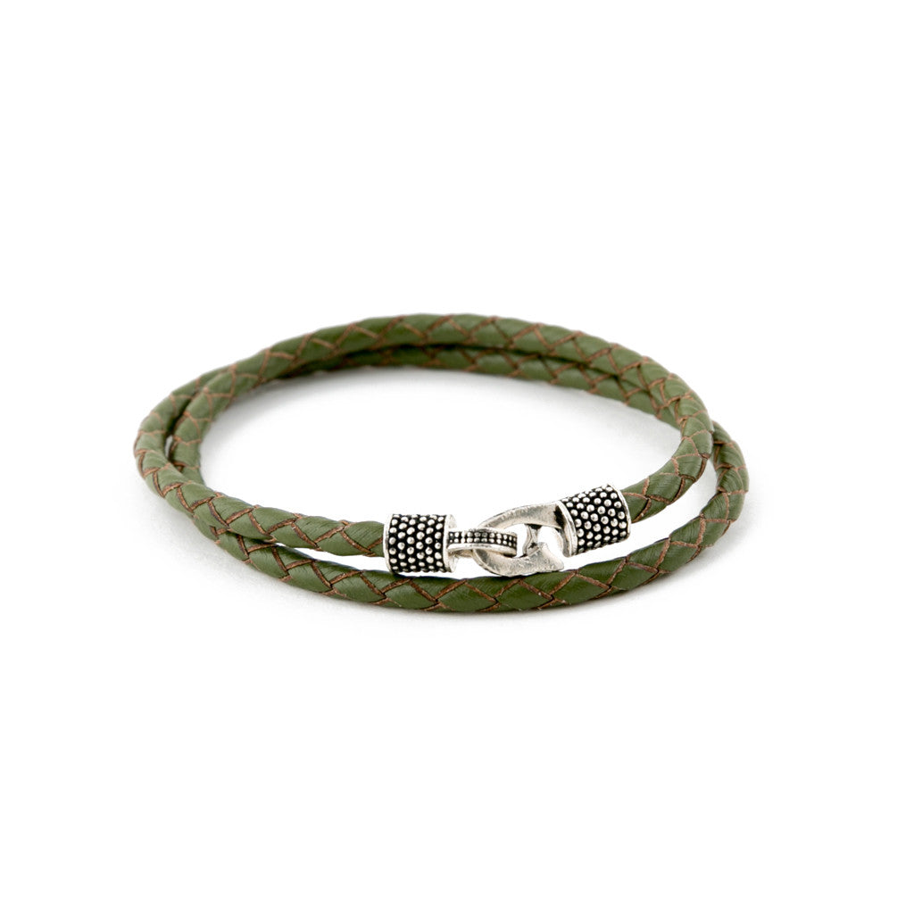 Marine Green Genuine Leather/.925 Sterling Silver
