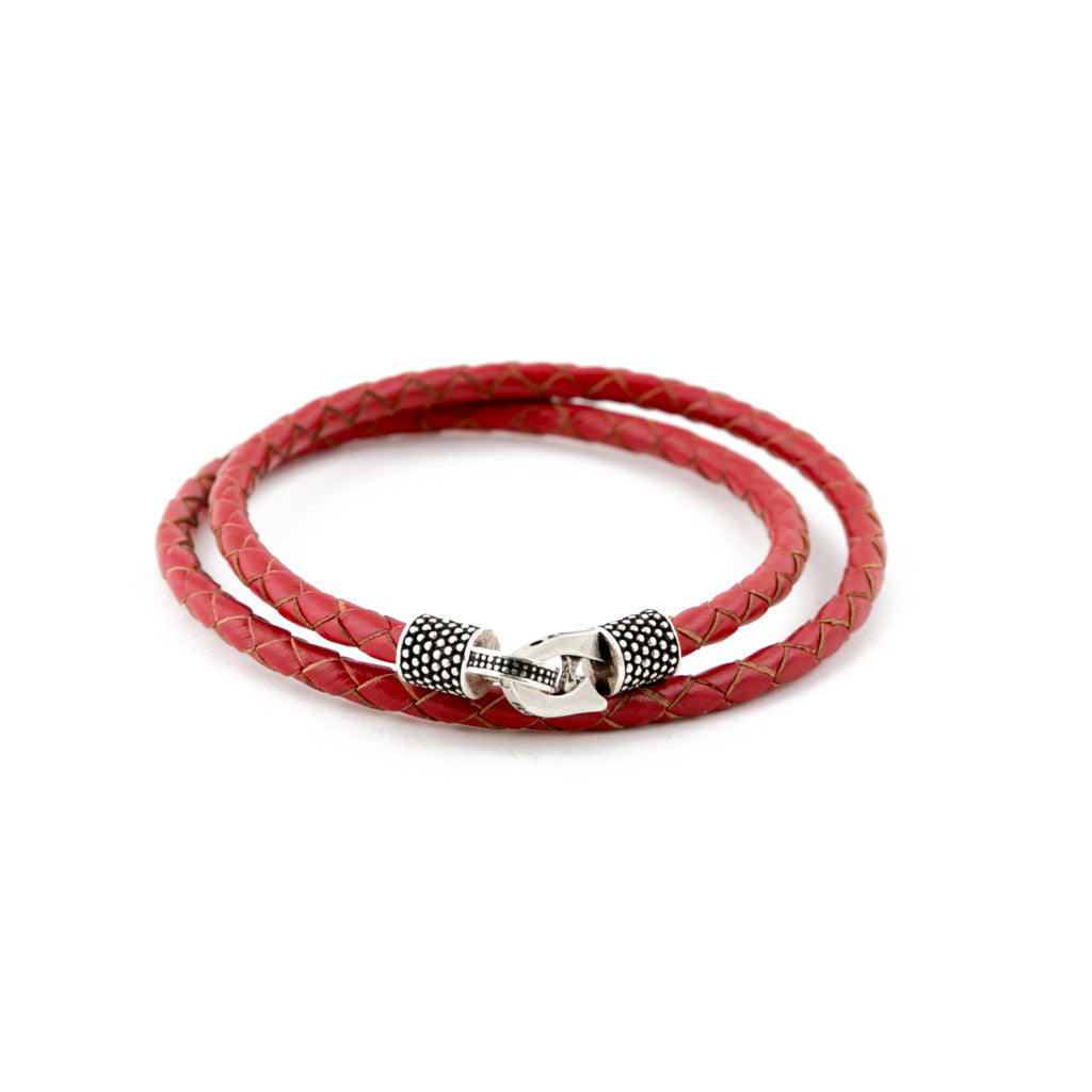 Red Genuine Leather/.925 Sterling Silver