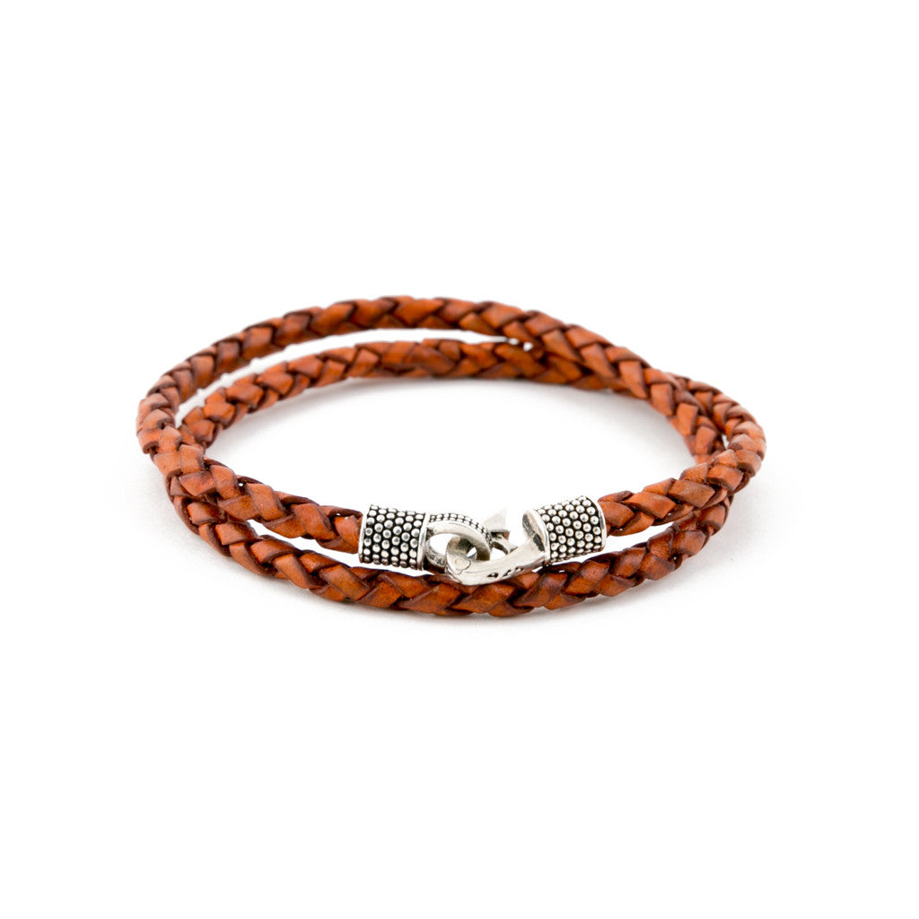 Brown Genuine Leather/.925 Sterling Silver