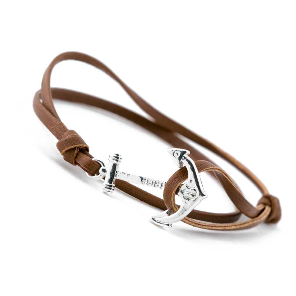 Silver Plated Anchor with Genuine Brown Leather