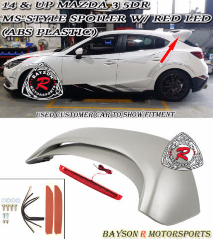 14-17 Mazda 3 5dr Hatch MS-Style Rear Roof Spoiler Wing w/ Red LED (ABS Plastic)