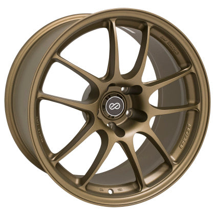 Enkei PF01 18x9.5 5x114.3 15mm Offset 75mm Bore Titanium Gold Wheel