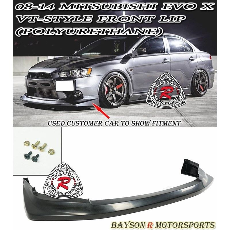 VT STYLE FRONT LIP FOR 2008-2015 MITSUBISHI EVOLUTION 10