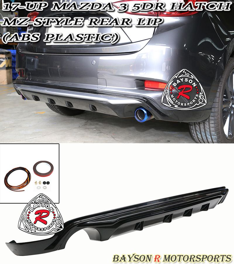 17-18 MAZDA 3 5DR HATCH MZ STYLE REAR LIP (ABS PLASTIC)