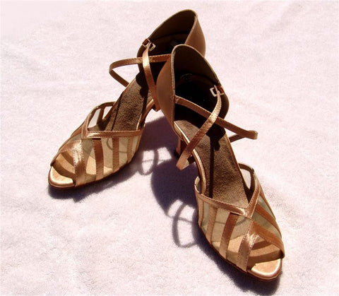 Stephanie Dance Shoes 12049 - 55 Tan Satin / Mesh Latin Shoe