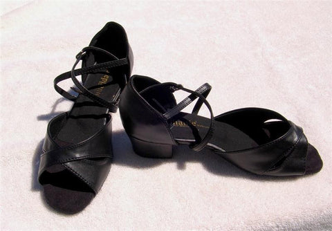 Stephanie Dance Shoes 16002 - 11X - Black Leather / Two Way Strap