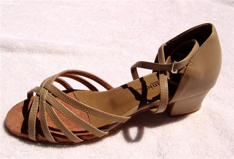 Stephanie Dance Shoes 16003 - 51X Tan Leather / Two Way Strap