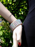FNB Nude Stretch 4 Row Fully Stoned Bangle: Aurora Borealis (size 30' stones)