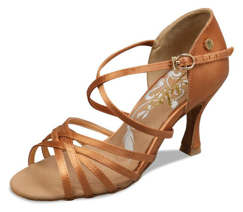 A2001 - 75 Dark Tan Satin Latin Shoe