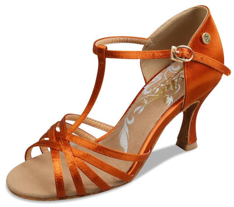 A2002N - 75 Dark Tan Satin T-Strap Latin Shoe
