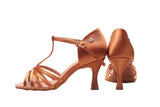 A2002 - 75 Dark Tan Satin T-Strap Latin Shoe