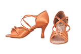 A2176 - 75 Dark Tan Satin X - Strap Latin Shoe