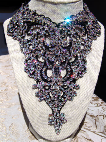 "NUG ""Beatrice"" Victorian Black Lace Necklace: Aurora Borealis & Clear Swarovski Crystal"