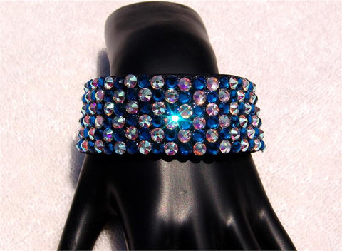 NUG B-2 Black Stretch 6 Row Fully Stoned Bangle: Capri Blue & Aurora Borealis (alternated pattern size 20' stones)