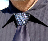 Black Diamond & Hematite Swarovski Crystal Stoned Men's Black Zipper Tie (size 30' stones).