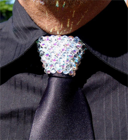 Aurora Borealis & Clear Swarovski Crystal Stoned Men's Black Zipper Tie (size 30' stones).