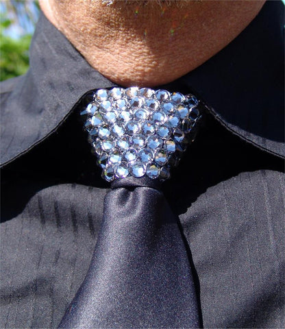 Black Diamond Swarovski Crystal Stoned Men's Black Zipper Tie (size 30' stones).