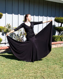 NUG 0065 Black Full Circle Standard Godet Skirt