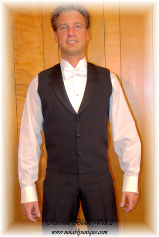 American Smooth Black Vest with Satin Lapels