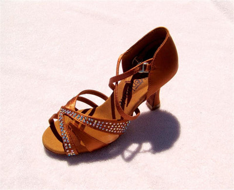 Stephanie Crystal Collection Dance Shoes 12056-45 Dark Tan Satin