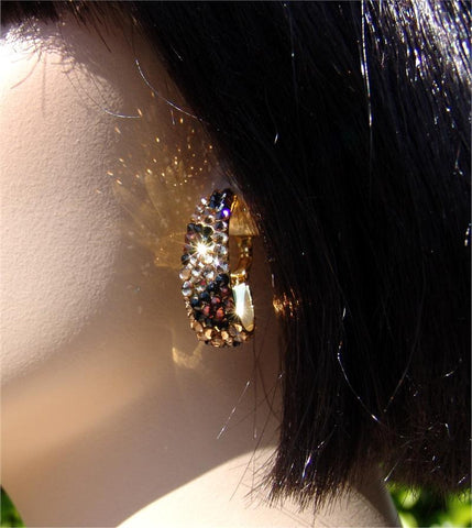 Swarovski Austrian Crystal - EJ 1839 Pave Oval Hoop : Leopard Print over gold backing.